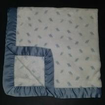 Gymboree Blue White Fleece Baby Blanket Lovey Satin Trim Boy SOFT - $29.65