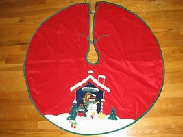 "CHRISTMAS TREE SKIRT Applique Snowman Snow House Winter Land 43"" Diamete... - $14.95"