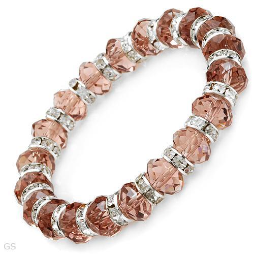 GENUINE CRYSTALS CRAFTED IN SILVER BASE METAL BRACELET