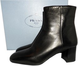 PRADA Black Leather Fashion Ankle Boots Tapered-Toe Block Heel Booties 38.5 - $399.00