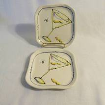 "Julia Junkin Studio Two Martini Snack Appetizer Plates ""With a Twist"" - $15.97"