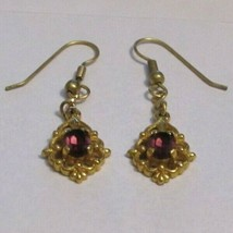 Vintage Faux Amethyst Drop Dangle Earrings Pierced 31463 Purple Lilac La... - $29.69