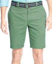 "NEW MENS CLUB ROOM PEASHOOT GREEN 9'"" FLAT FRONT ESTATE BELTED SHORTS - $14.99"