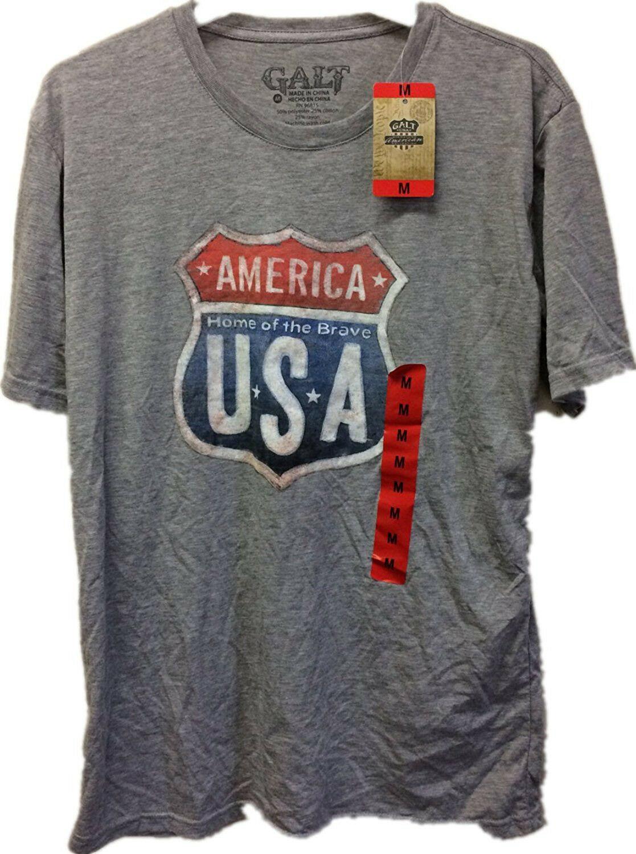 America Casa Di The Brave USA Uomo Grigio T-Shirt Con Itinerario Segno Nwt