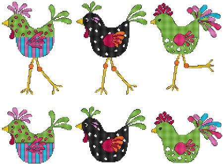 Cool Chicks chicken cross stitch chart Cross Stitch Wonders