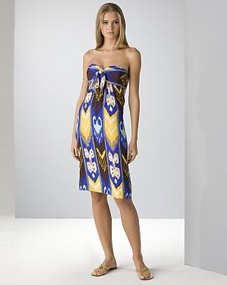 TORY BURCH Leeona ikat silk blue island DRESS size 4 sold out NEW NWT $494+ RARE