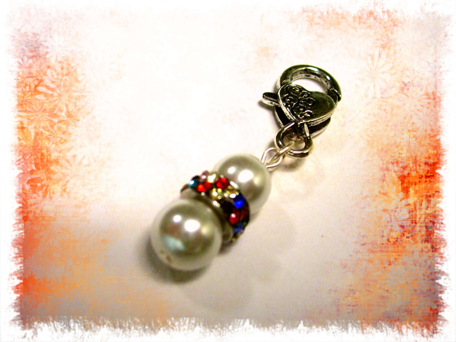 Rainbow Pearl Purse Charm / zipper / keychain