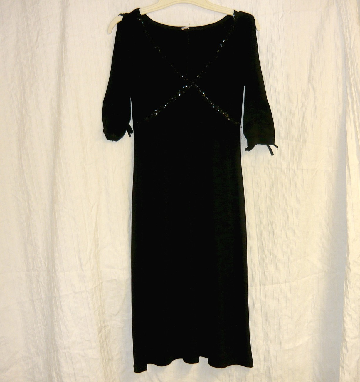 black beaded  empire vintage cocktail dress Sm. Bonanza