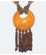 Bright Orange Sun Moon Circle Earthy Pendant & Beads Necklace - $19.99