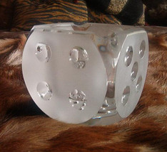 Crystal Dice Ashtray Die Frosted Cigar Cigarette Signed D Vintage Mid Ce... - $150.00