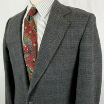 Vintage Reed St James Mens Gray Plaid Sport Coat Jacket 40L Two Button T... - $34.79