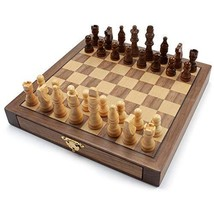 10-Inches Wooden Chess Game Set with Storage Drawers - $31.57
