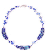 "Glass Beaded Necklace-18""-Blue-Pin Clasp-Jewelry-Cool Funky - $34.58"