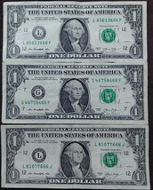 Three pieces One US Dollar Haunted  Serial Number 666 Banknotes 2013 - $5.95