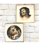 Religious Tiles Jesus Crown Of Thorns & Madonna Of The Chair Made In Ita... - $29.69