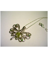 Silver Butterfly charm necklace with yellow and green accents - $13.00