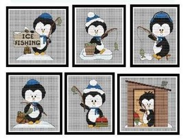 Ice Fishing Penguins cross stitch chart Cross Stitch Wonders - $10.80