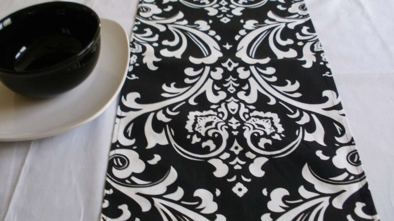 Primary image for TABLE RUNNER Traditions Damask Osborne White on Black Print