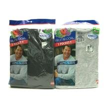 Vtg Fruit Of The Loom One Pocket Long Sleeve T-Shirt Mens 2XL BLACK and ... - $34.25