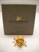 SWARVOSKI Crystal BEETLE Pin 2 TONE Yellow ORANGE Sterling GOLD Plated O... - $86.39
