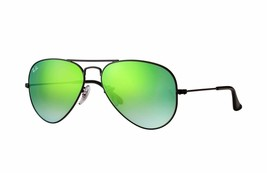 Nuovo Ray-Ban Aviator RB3025 002/4J Nero con / Verde Gradienti Flash Len... - $149.80