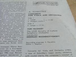 Rozhdestvensky Bashmet.Schnittke Concerto For Viola & Orchestra Melodiya NM image 3