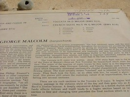 GEORGE MALCOLMC - BACH ITALIAN CONCERTO etc RARE LP RECORD MADE IN ISRAEL image 2