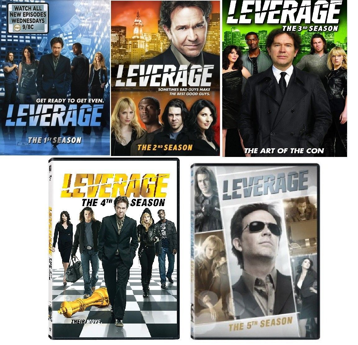 Leverage Complete TV Series Season 1 2 3 4 & 5 DVD  Sets [New]