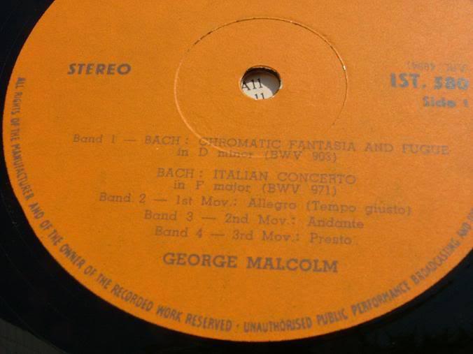 GEORGE MALCOLMC - BACH ITALIAN CONCERTO etc RARE LP RECORD MADE IN ISRAEL image 6
