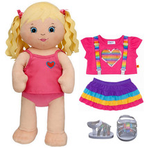 Build a Bear Blonde 17in. Plush Doll with Rainbow 2pc. Outfit Dot Sandal... - $126.95
