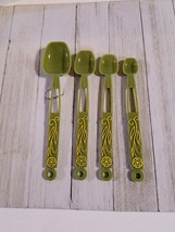 Vintage Retro Spoons Measuring Plastic Olive Green Set of 4 Yellow Flowers - $12.07