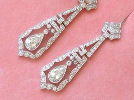 ART DECO 3ctw DIAMOND PEAR DROP PLATINUM ELEGANT COCKTAIL DANGLE EARRING... - $12,374.01