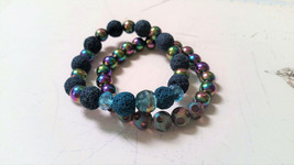 Blue Lava Stone, Electroplated Hematite Bracelets with Glass Beads and C... - $26.00