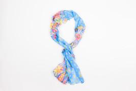 Ralph Lauren Collection Blue Pink Yellow Silk Sheer Printed Oblong Ruff... - £64.62 GBP