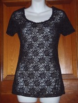SOMA Black Uptown Leopard Lace Tee SS Top Size XS NEW - $11.29