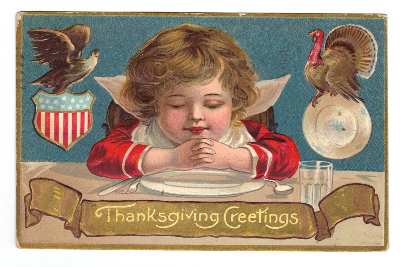 Vintage Thanksgiving Postcard - Eagle & Turkey