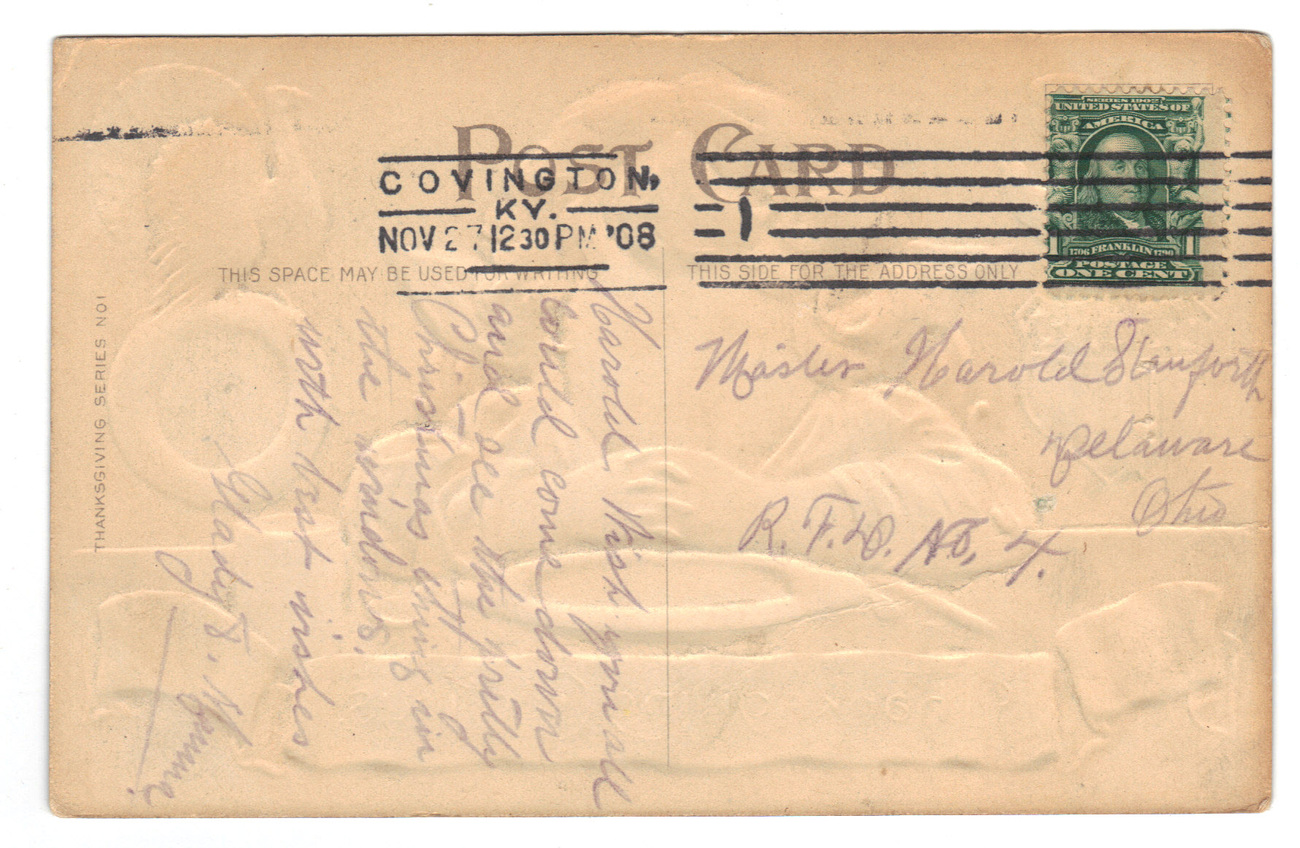 Vintage Thanksgiving Postcard - Eagle & Turkey image 2