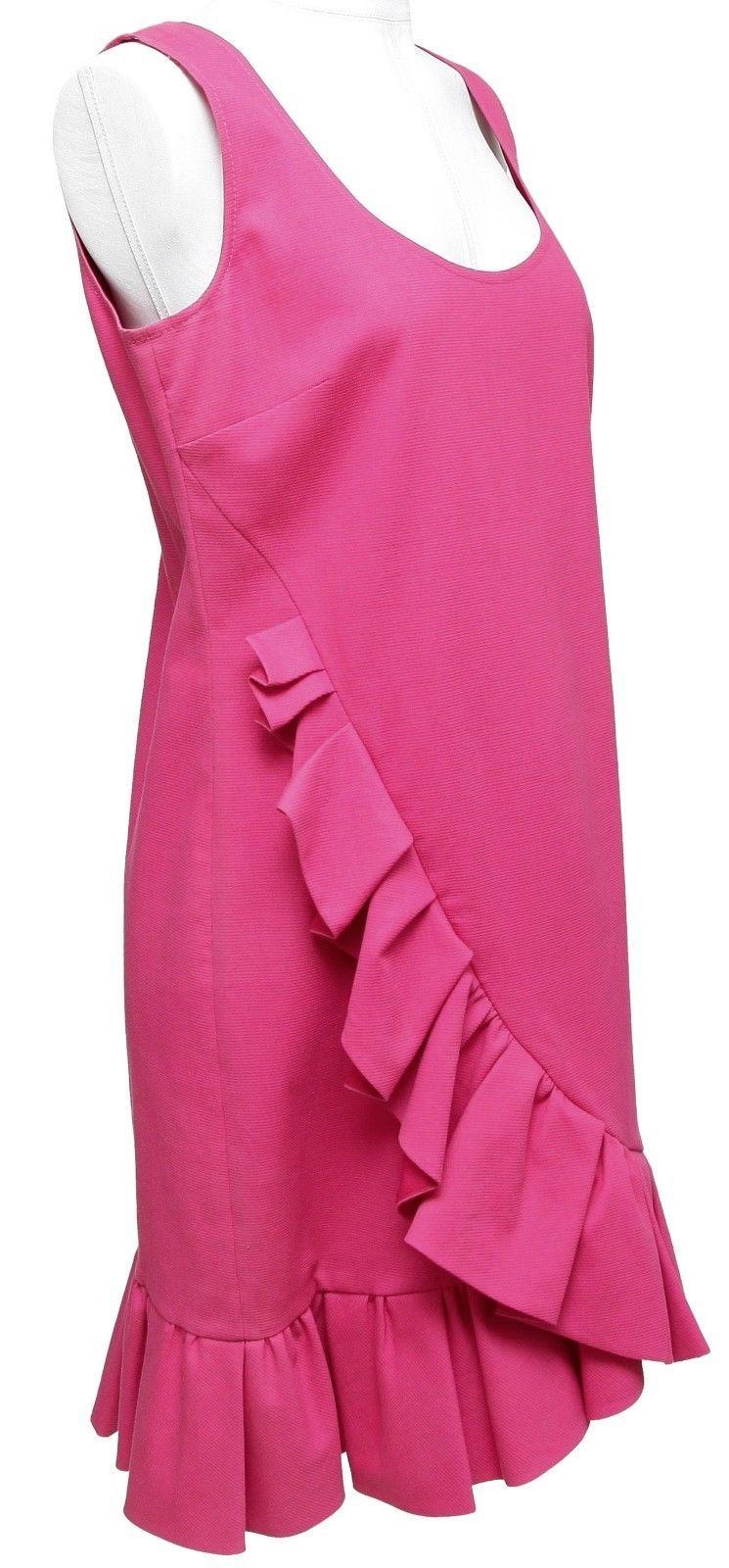 RED VALENTINO Dress Sleeveless Fuchsia Ruffle Cotton Blend