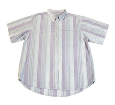 Ron Chereskin Shirt Short Sleeve Seersucker Blue Striped Button-Down Siz... - $20.73