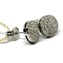 White Gold Earrings 750 18k, Diamonds Carat 0.50, Button, round, Pave 8 Mm image 2