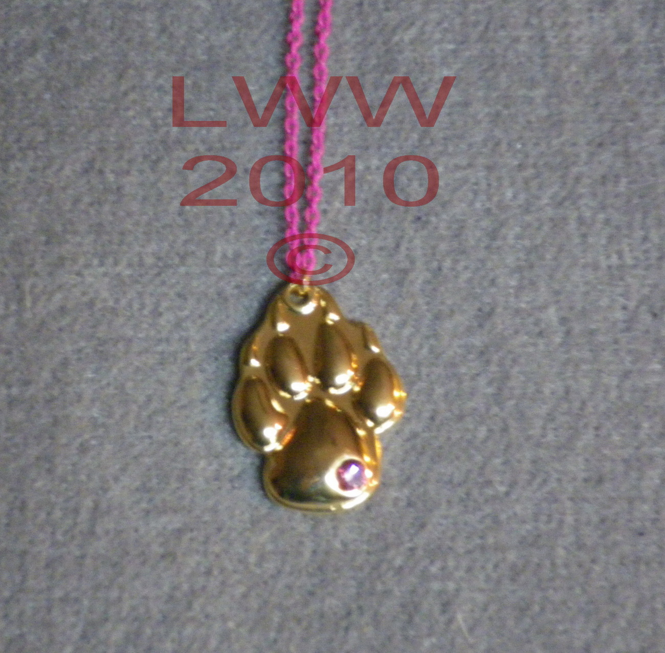 Gold-tone Werewolf Paw Print Pawprint on Pink Chain