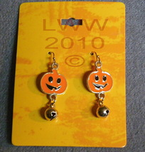 Jack-o-Lantern Jingle Bell Halloween Dangly Earrings - $3.99