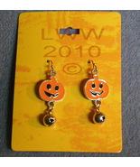 Jack-o-Lantern Jingle Bell Halloween Dangly Earrings - $3.99