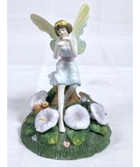 Winged Fairy with Flowers Squirrel Playing Flute Mystical Ceramic Figuri... - $12.73