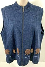 Woolrich Womens Lambswool Zip Up Vest Size L Large Dark Indigo Blue Bear Fish - $15.95