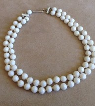 Vintage Necklace West Germany Faceted Beads White  2 Strand Choker - $7.50