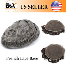 GEX Toupee Mens Hairpiece Wig FRENCH LACE Remy Hair Replacement System1B65# - $158.30