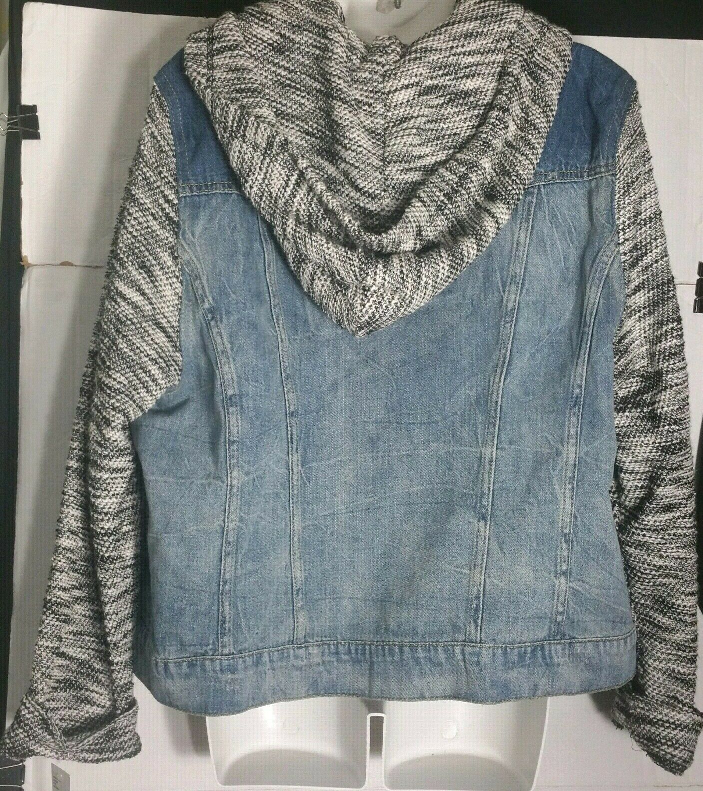 Women's Jessica Simpson Jean Jacket 2X Plus Denim Blue Hooded Zoe Pixie NWT