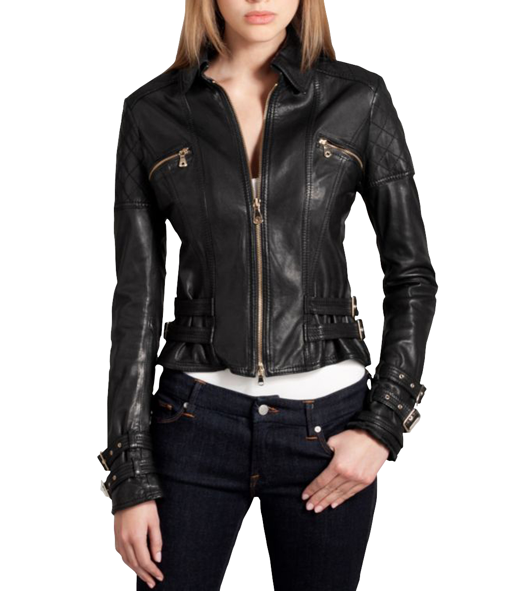 WOMEN BIKER MOTORCYCLE CASUAL SLIM FIT RIDER REAL GENUINE  LEATHER JACKET-A69