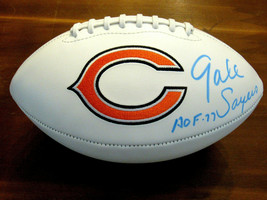 GALE SAYERS HOF 77 CHICAGO BEARS SIGNED AUTO BEARS LOGO STAT FOOTBALL IC... - $247.49